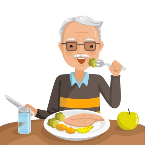 illustration of elderly man with dentures eating a meal