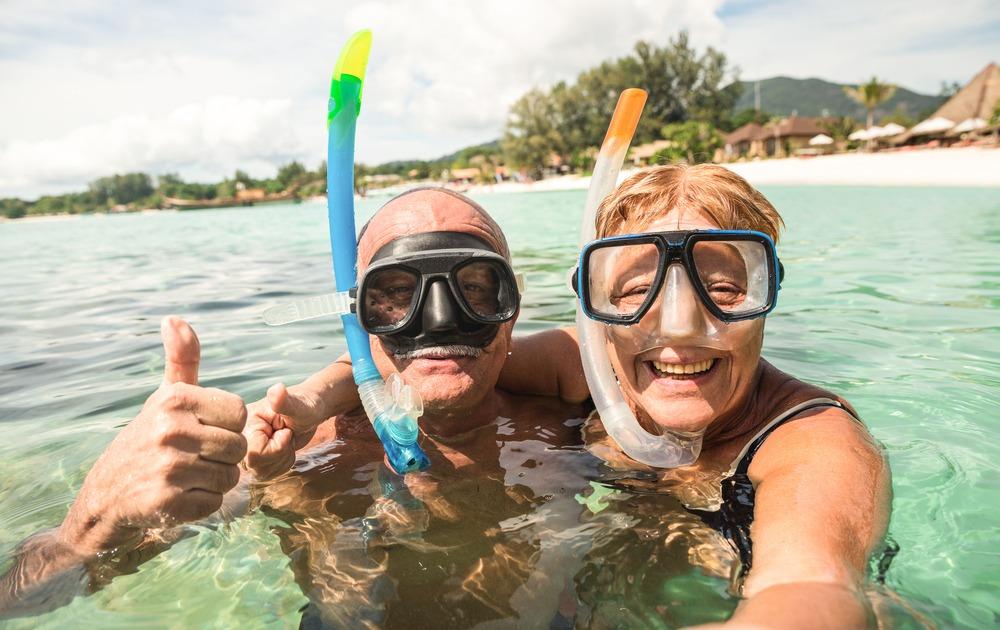 older couple snorkeling