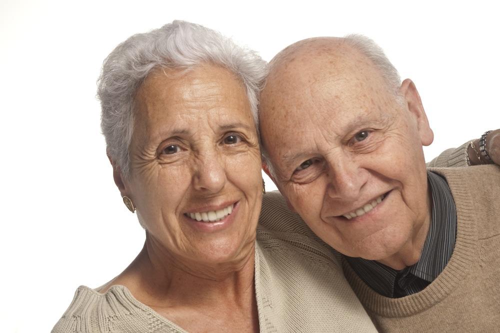 elderly mature couple smiling