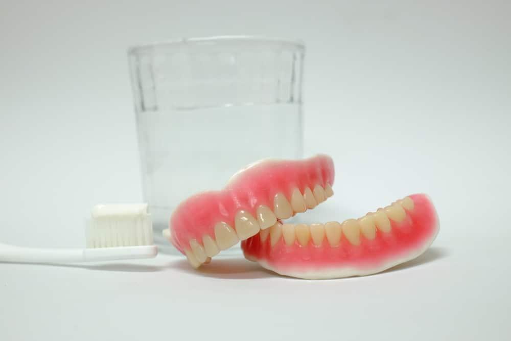 set of new complete dentures