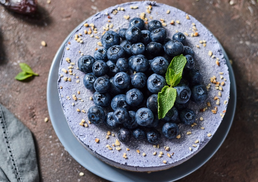 blueberries on blueberry cheesecake at holidays
